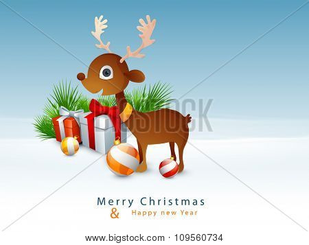 Cute reindeer with glossy ornaments on winter background for Merry Christmas and Happy New Year celebration.