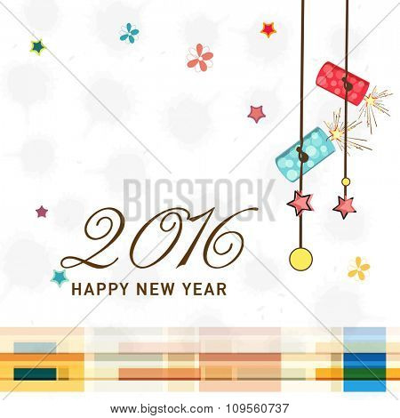 Creative stars, flowers and burning crackers decorated greeting card design for Happy New Year 2016 celebration.