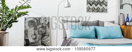 Grey And Turquoise Decorations In Bedroom
