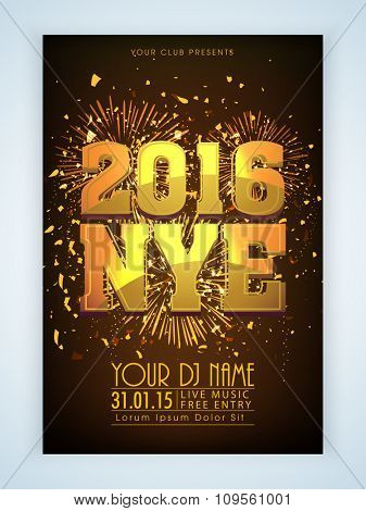 Shiny elegant Flyer, Banner or Pamphlet with fireworks for Happy New Year's 2016 Eve Party celebration.