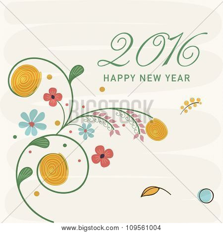 Creative colorful flowers decorated greeting card design for Happy New Year 2016 celebration.