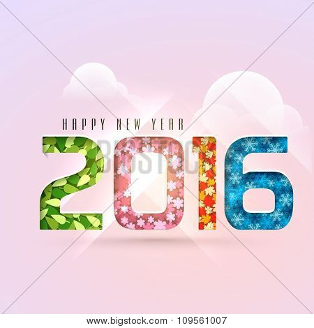 Colorful stylish text 2016 made by leaves, flowers and snowflakes on cloudy background for Happy New Year celebration.