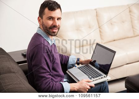 Latin Man Working From Home