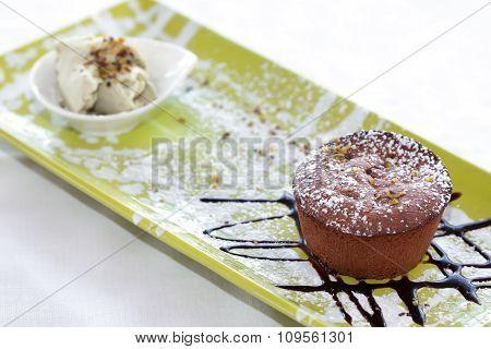 Chocolate Lava Cake With Pistachios Ice Cream