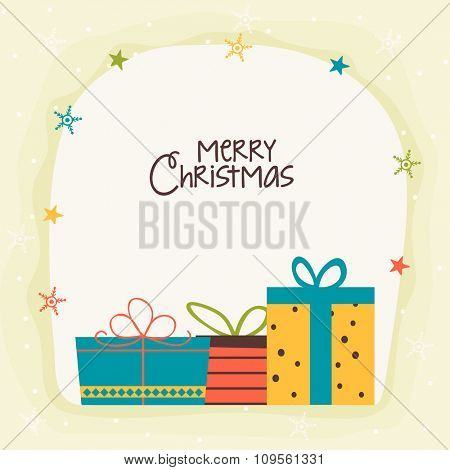 Elegant greeting card design with colorful wrapped gifts on snowflakes decorated background for Merry Christmas celebration.
