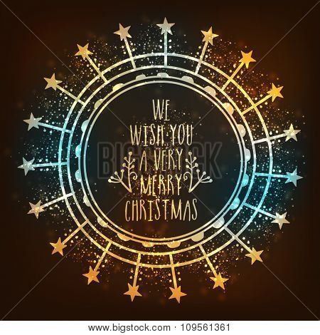 Elegant shiny greeting card design with stars for Merry Christmas celebration.