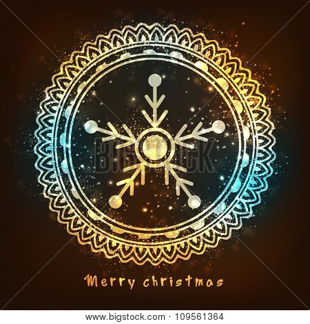 Elegant greeting card with floral design decorated shiny snowflake for Merry Christmas celebration.
