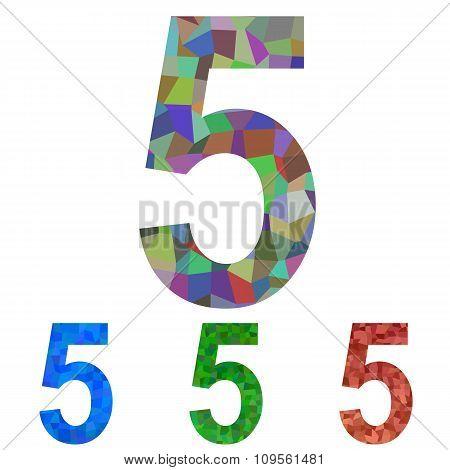 Mosaic font design set - number 5