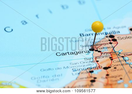 Cartagena pinned on a map of America