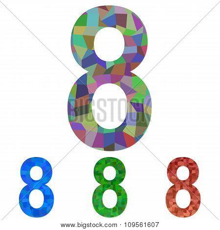 Mosaic font design set - number 8