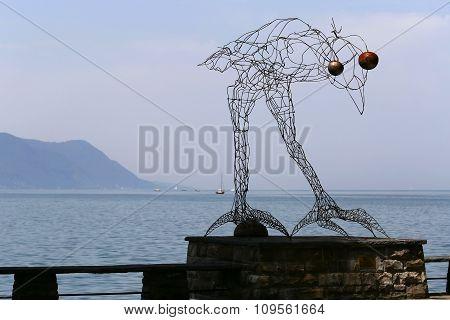 Montreux, Switzerland - 9 June 2014: Before Flight sculpture by Michel Buchs at Quai de la Rouvenaz on the banks of Lake Geneva Swiss Riviera Montreux Switzerland