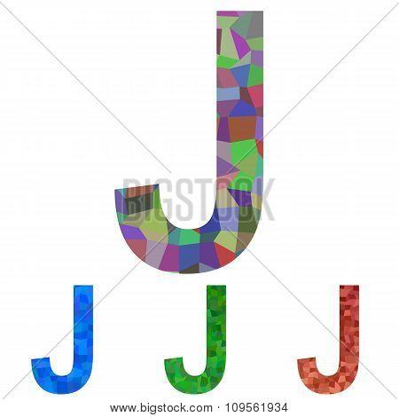 Mosaic font design - letter J