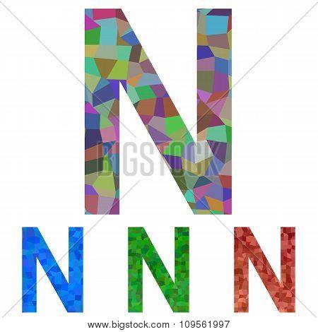 Mosaic font design - letter N