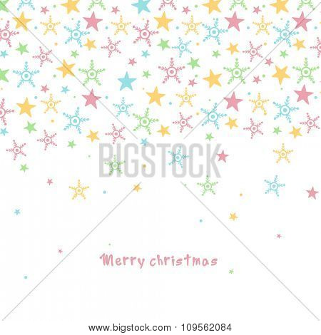 Elegant greeting card design decorated with colorful snowflakes and stars for Merry Christmas celebration.