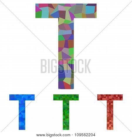 Mosaic font design - letter T