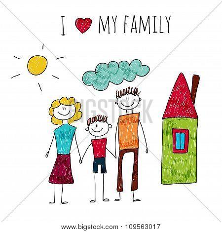 Vector illustration I love my family