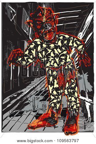 Zombie In Pajamas On The Night Street, Vector Illustration.