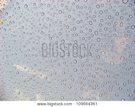 Water Drops On Glass Sunroof