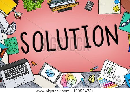 Solution Innovation Progress Strategy Decision Concept