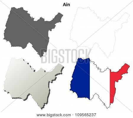 Ain, Rhone-Alpes outline map set