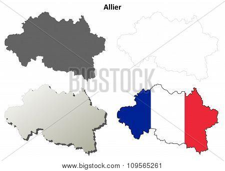 Allier, Auvergne outline map set