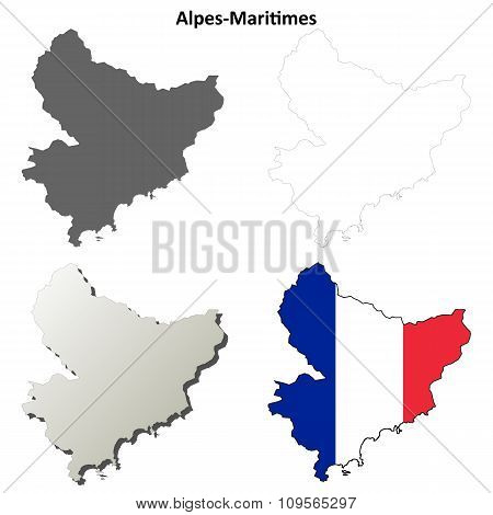 Alpes-Maritimes, Provence outline map set