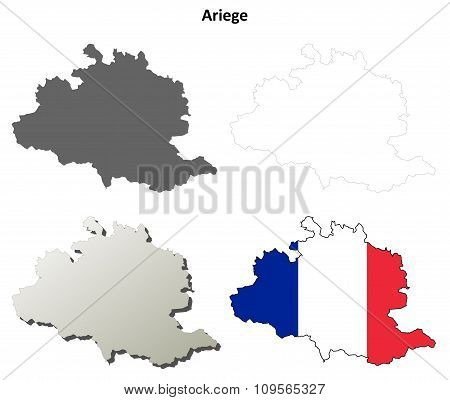 Ariege, Midi-Pyrenees outline map set