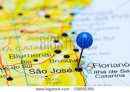 Sao Jose pinned on a map of Brazil