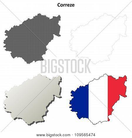 Correze, Limousin outline map set