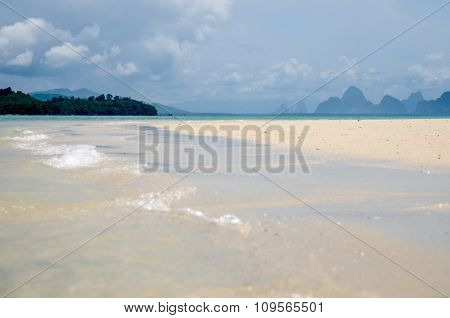 The Quiet Waves Go In Coral Sands Beach At Phang Nga Bay Near Krabi And Phuket
