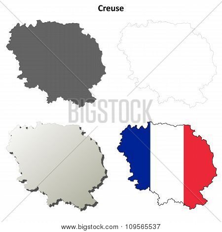 Creuse, Limousin outline map set