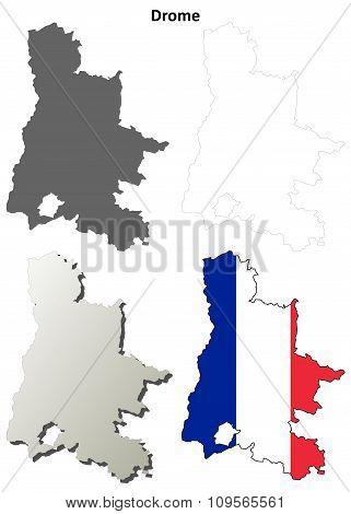Drome, Rhone-Alpes outline map set