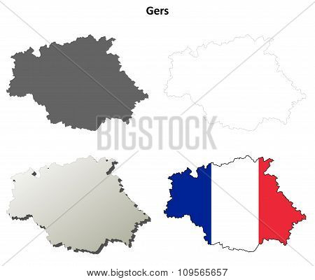 Gers, Midi-Pyrenees outline map set