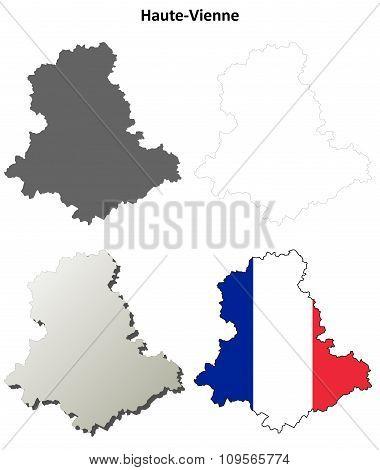 Haute-Vienne, Limousin outline map set