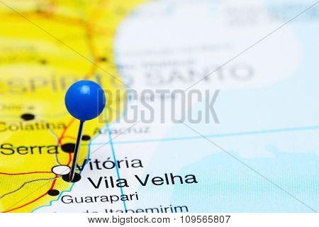 Vila Velha pinned on a map of Brazil