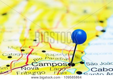 Campos pinned on a map of Brazil