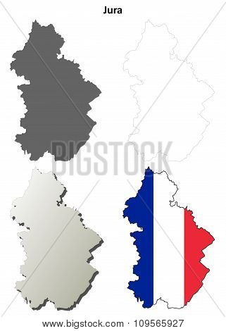 Jura, Franche-Comte outline map set