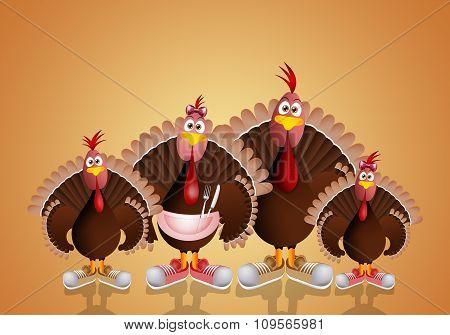Funny Family Of Turkeys
