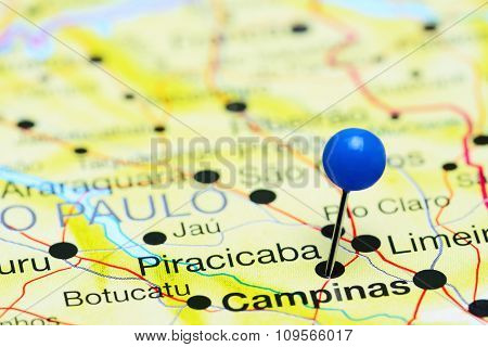 Piracicaba pinned on a map of Brazil
