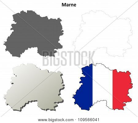 Marne, Champagne-Ardenne outline map set