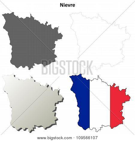 Nievre, Burgundy outline map set