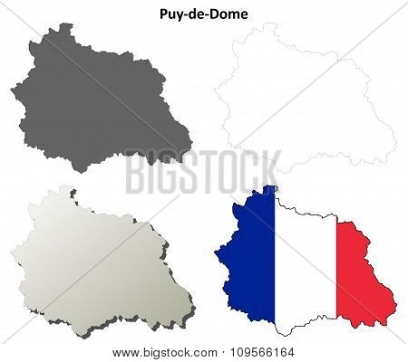 Puy-de-Dome, Auvergne outline map set