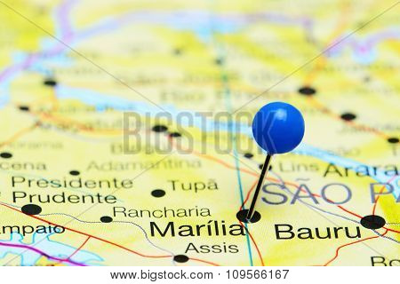 Marilia pinned on a map of Brazil