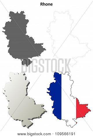 Rhone, Rhone-Alpes outline map set