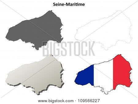 Seine-Maritime, Upper Normandy outline map set