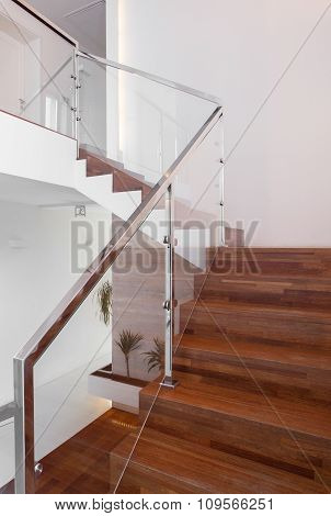 Stairs With Metal Hand Rail