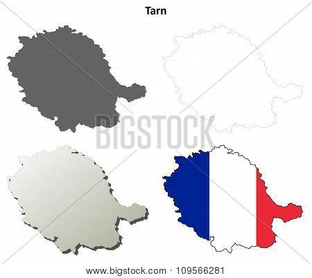 Tarn, Midi-Pyrenees outline map set
