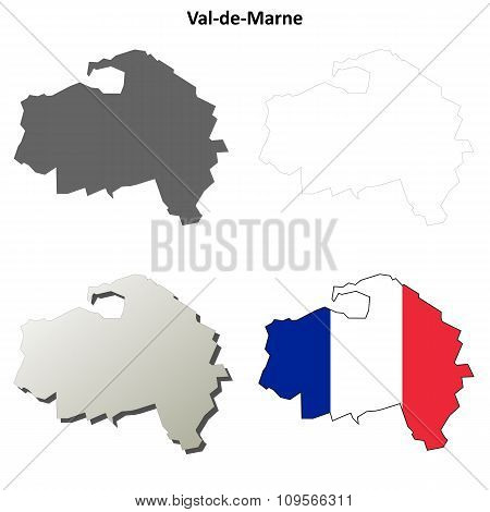 Val-de-Marne, Ile-de-France outline map set