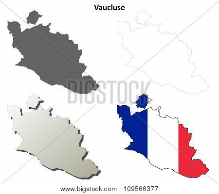 Vaucluse, Provence outline map set