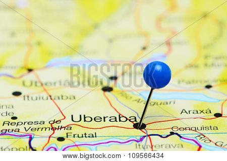 Uberaba pinned on a map of Brazil
